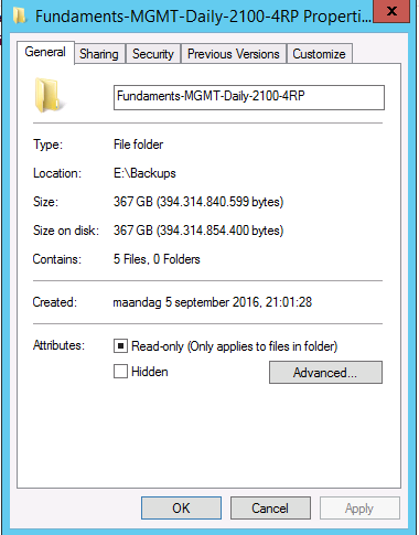 Storage usage with Veeam: 367GB